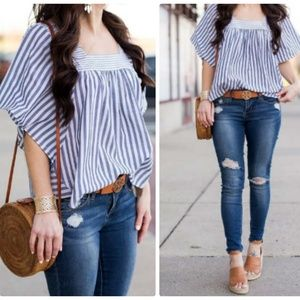 Madewell Chambray White Striped Top